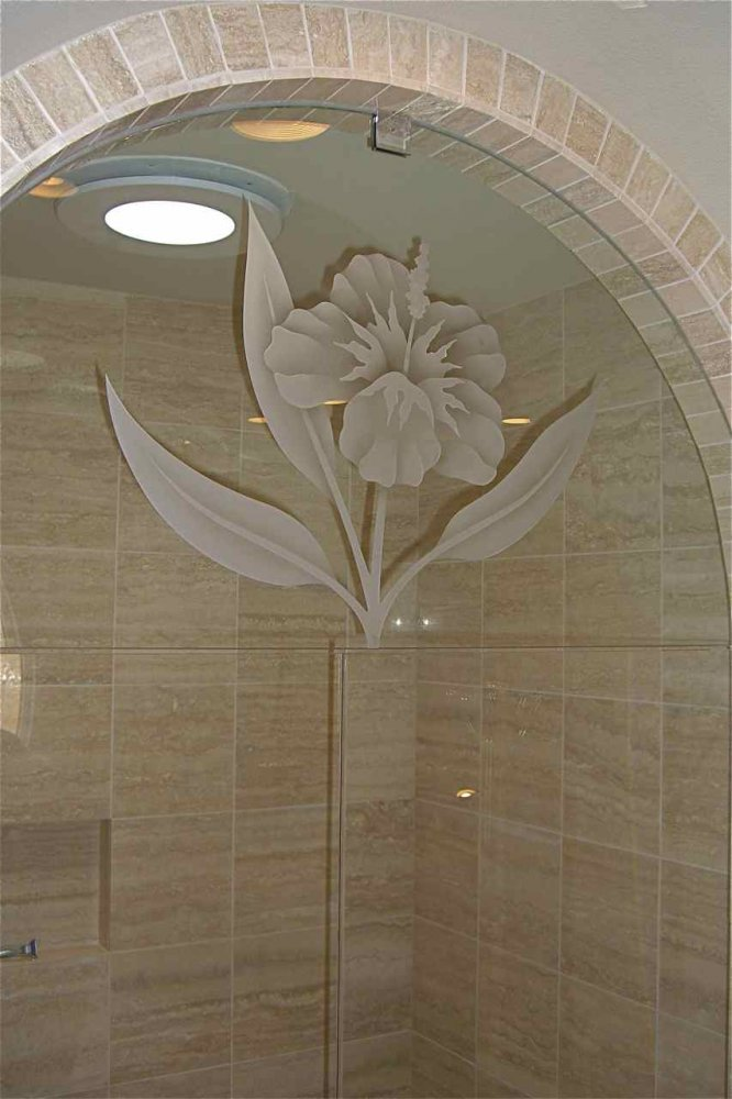 Decorative Floral Glass Shower Door Frameless Glass Shower Doors Etched Glass Tropical Decor Flower Nature