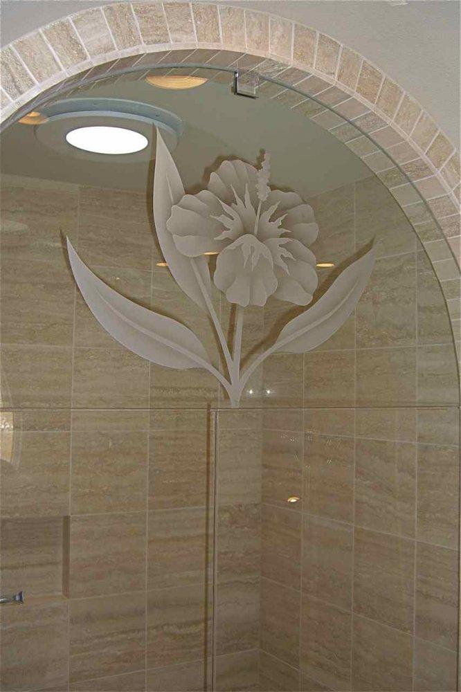 frameless glass shower doors etched glass tropical decor flower nature hibiscus sans soucie