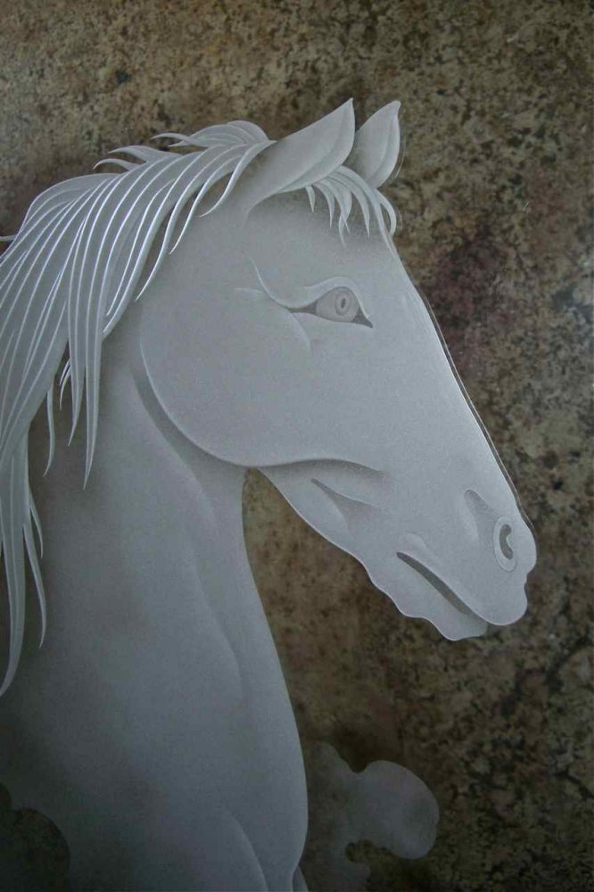 custom showers etched glass western design stallions outdoors horse bust sans soucie
