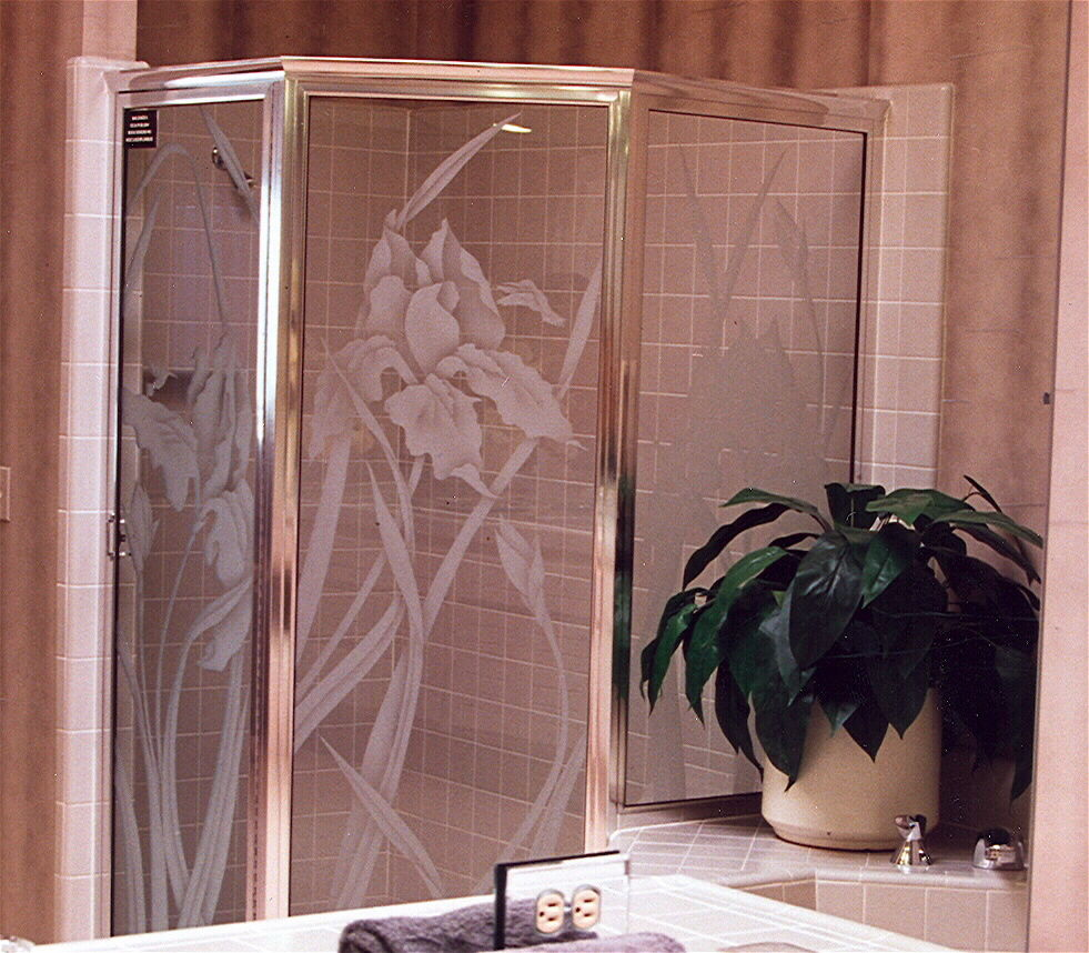 glass shower doors etched glass English country decor flowers nature iris in bloom sans soucie