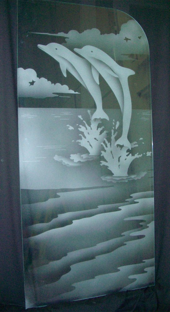 glass shower enclosures etched glass beach style ocean animals dolphins leaping sans soucie