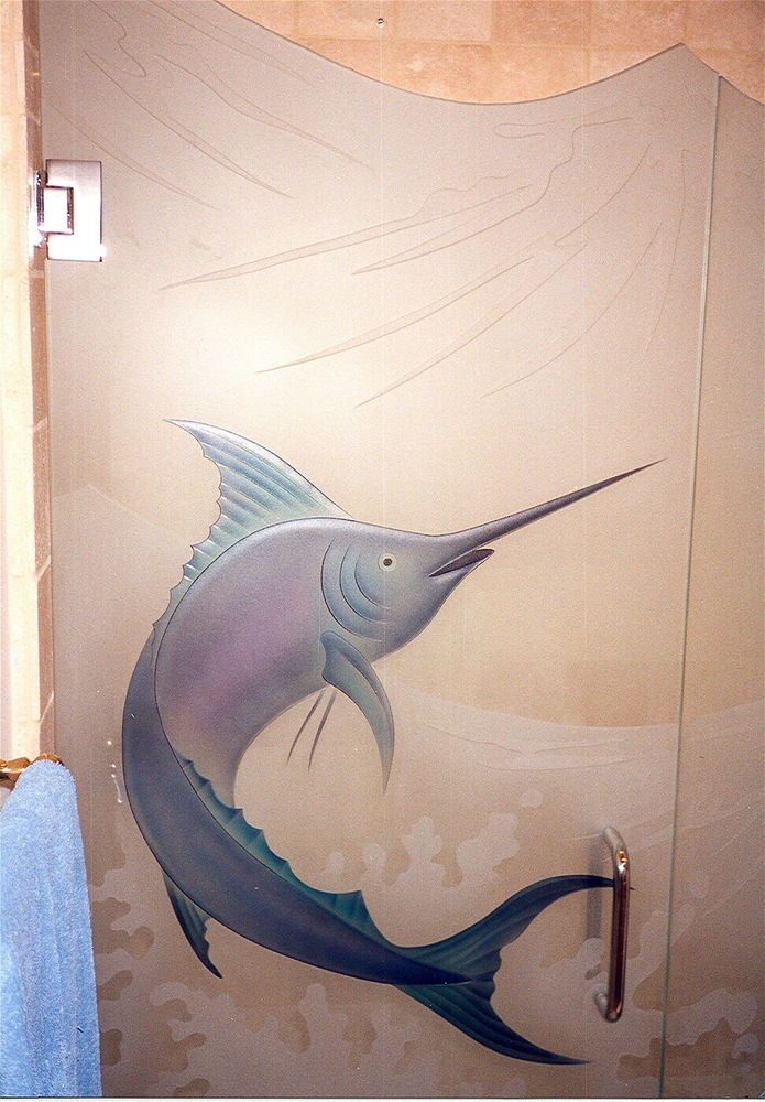 frameless glass shower doors etched glass beach style Fishing ocean marlin 3d painted sans soucie