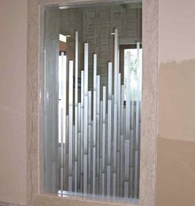 glass shower doors etched glass Moroccan style rectangular bands mosaics sans soucie