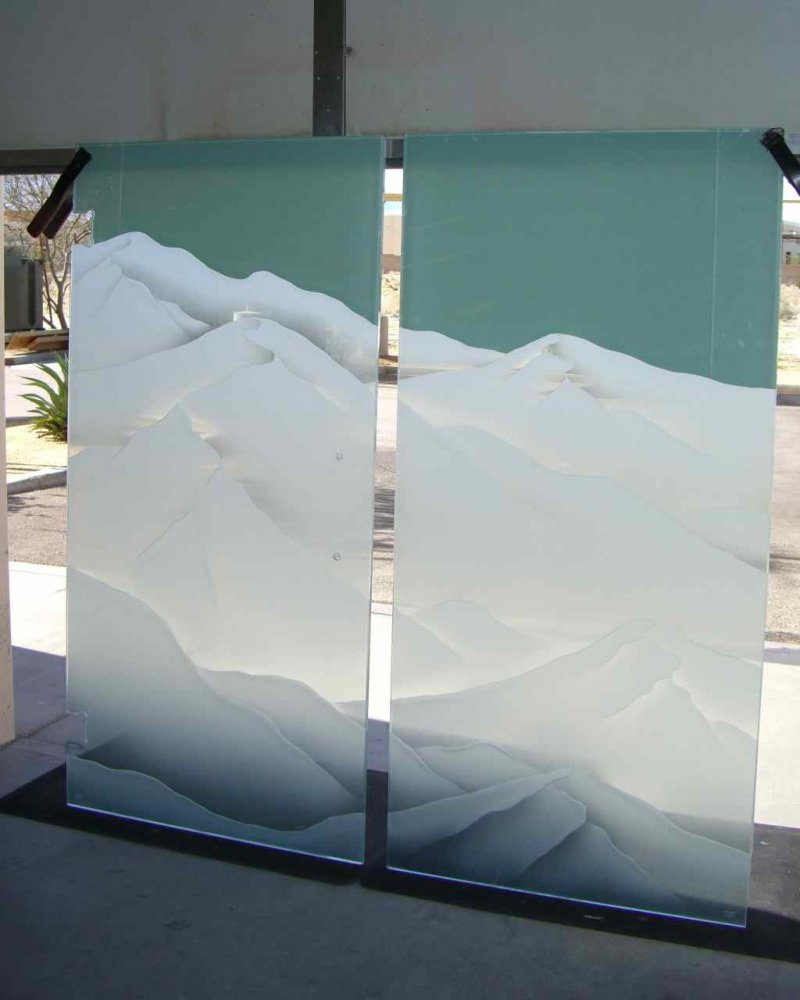 Mountain Range Glass Shower Enclosures Etched Glass
