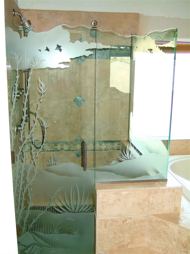 glass shower enclosures etched glass western decor plants foliage ocotillo desert sans soucie