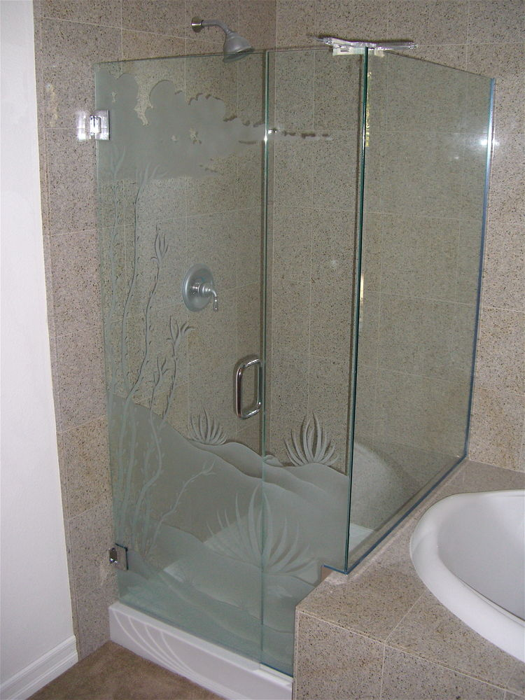 frameless glass shower doors etched glass western style foliage landscape ocotillo desert ll sans soucie