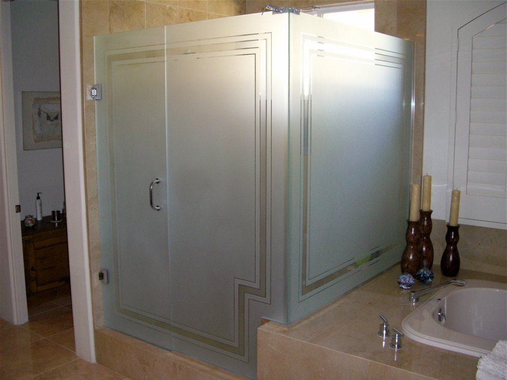 custom showers etched glass borders style frosted private pinstripe border sans soucie