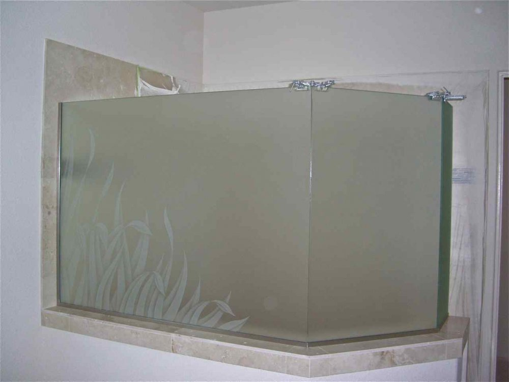 Reeds frosted glass shower etched glass tropical design for Frosted glass window bathroom