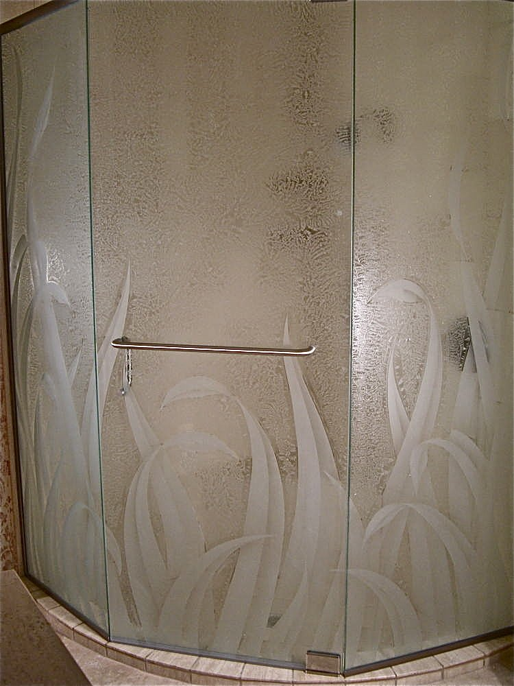Decorative Floral Glass Shower Door Custom Showers Etched Glass Tropical Decor Thick Foliage Reeds Lll