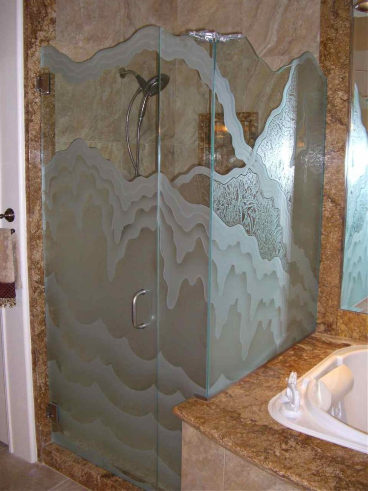 glass shower etched glass rustic design hills mountains rugged retreat VI sans soucie