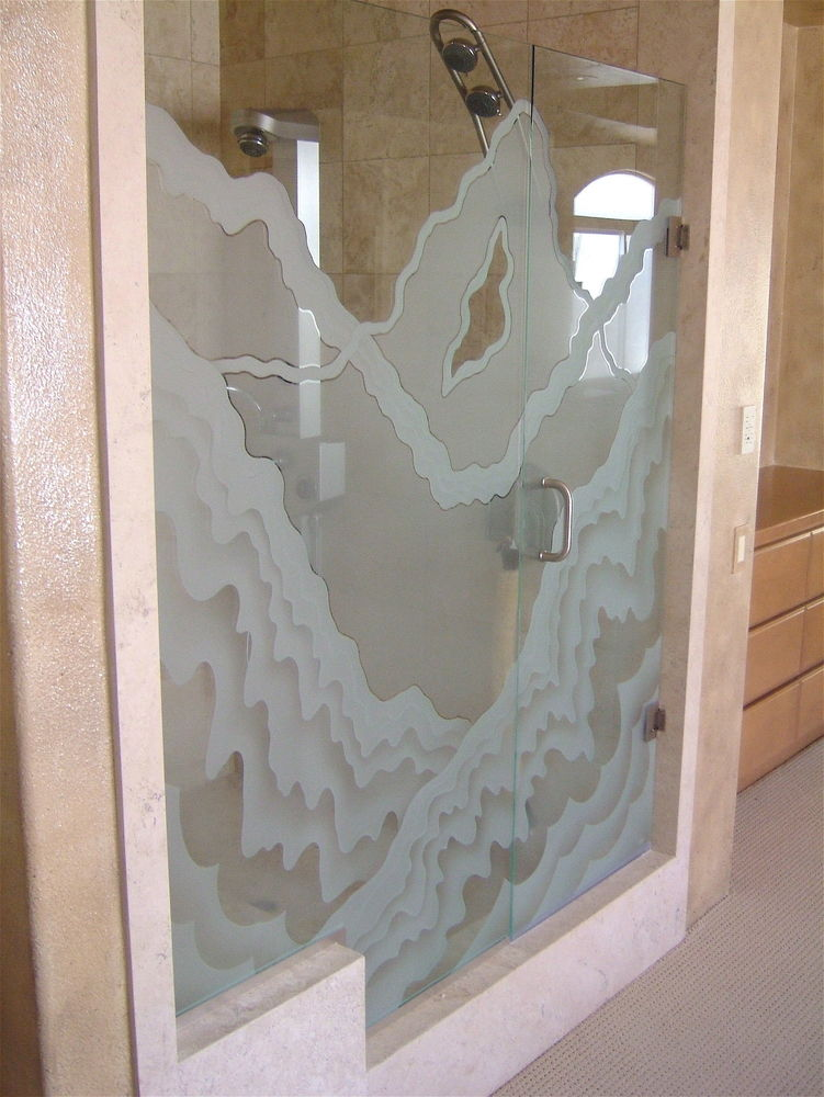 glass shower etched glass rustic style mountains landscape rugged retreat l sans soucie