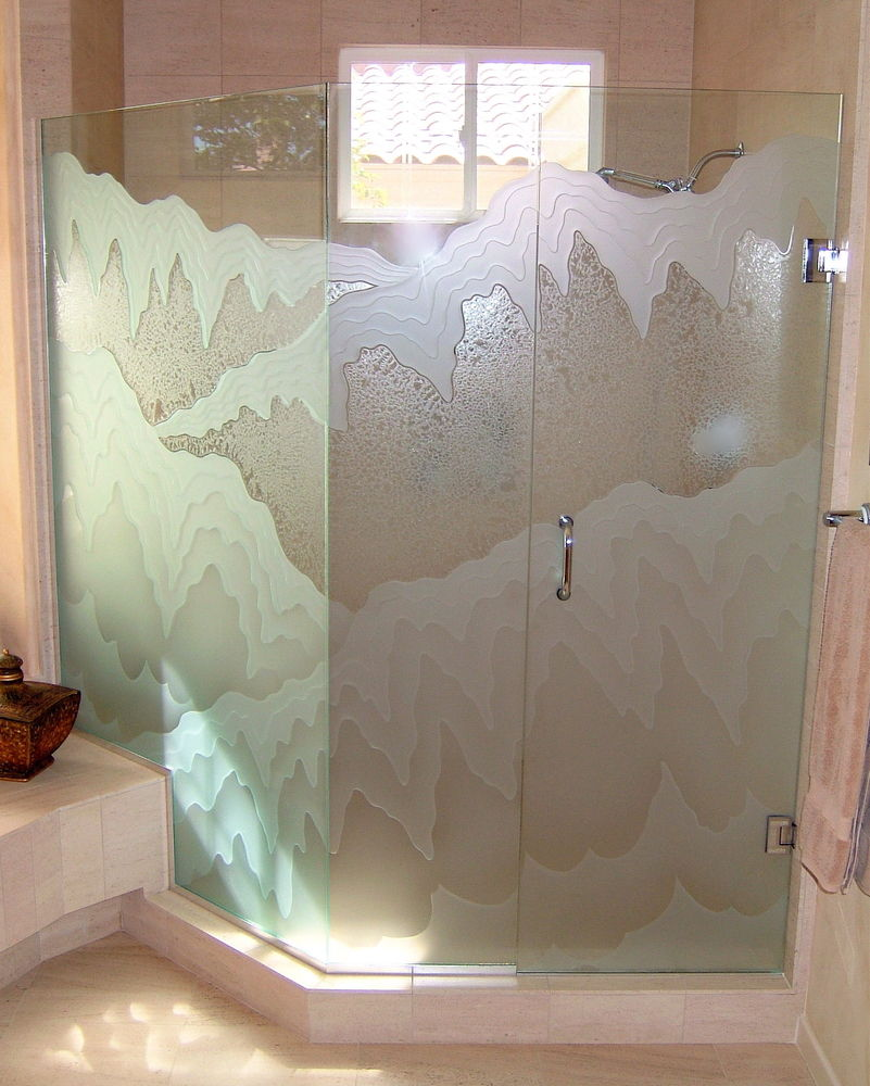 frameless glass shower doors etched glass rustic style landscape outdoors rugged retreat lll sans soucie
