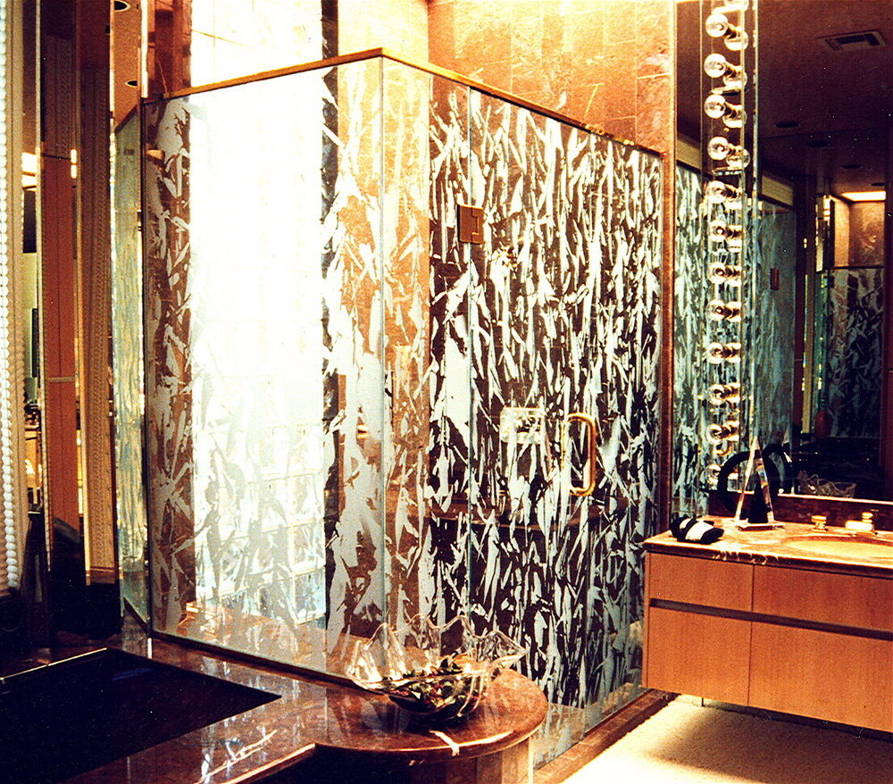 frameless glass shower doors etched glass eclectic style snowing cold snowflakes sans soucie