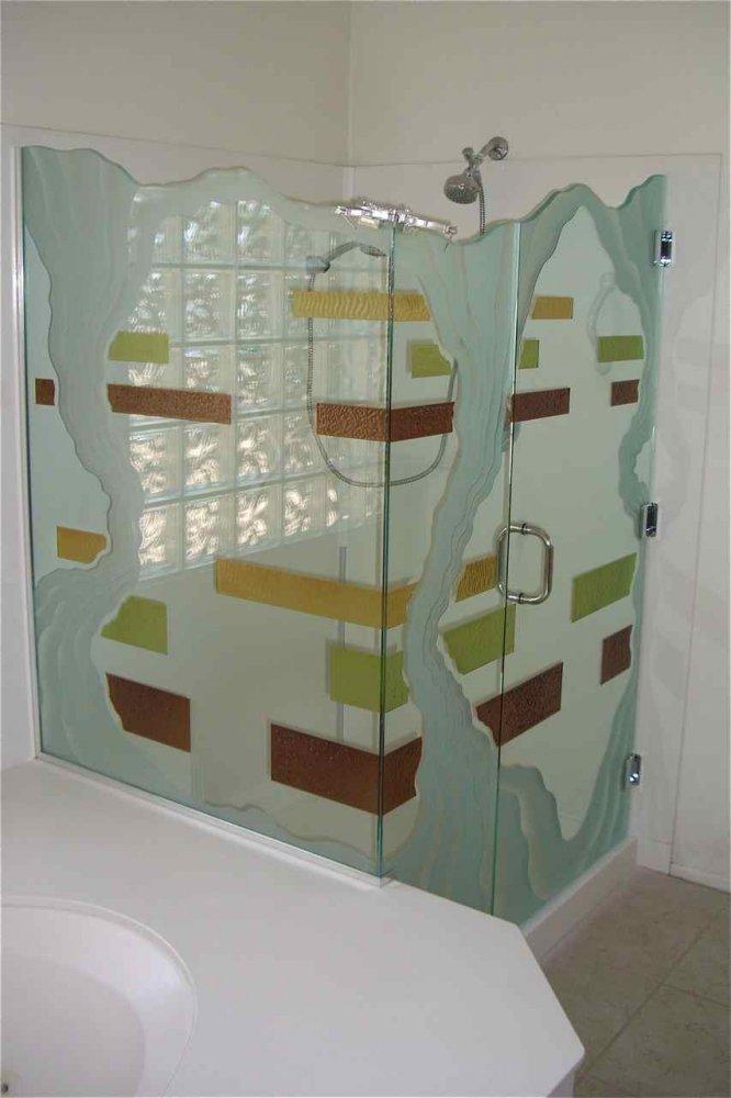 glass shower enclosures etched glass rustic style geometric bands triptic sans soucie