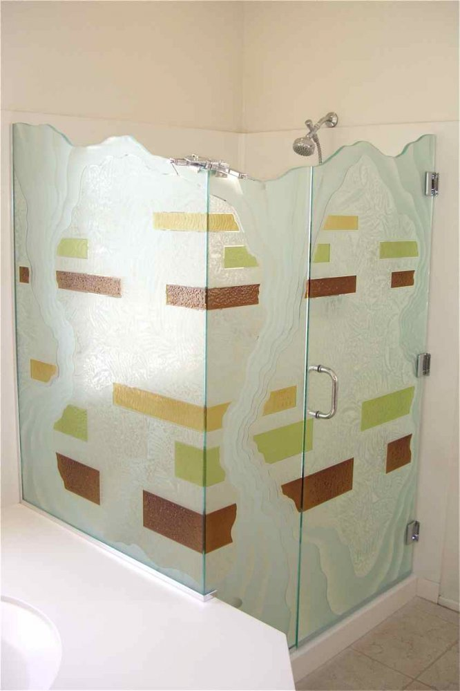 glass shower enclosures etched glass rustic design flowing lines triptic sans soucie
