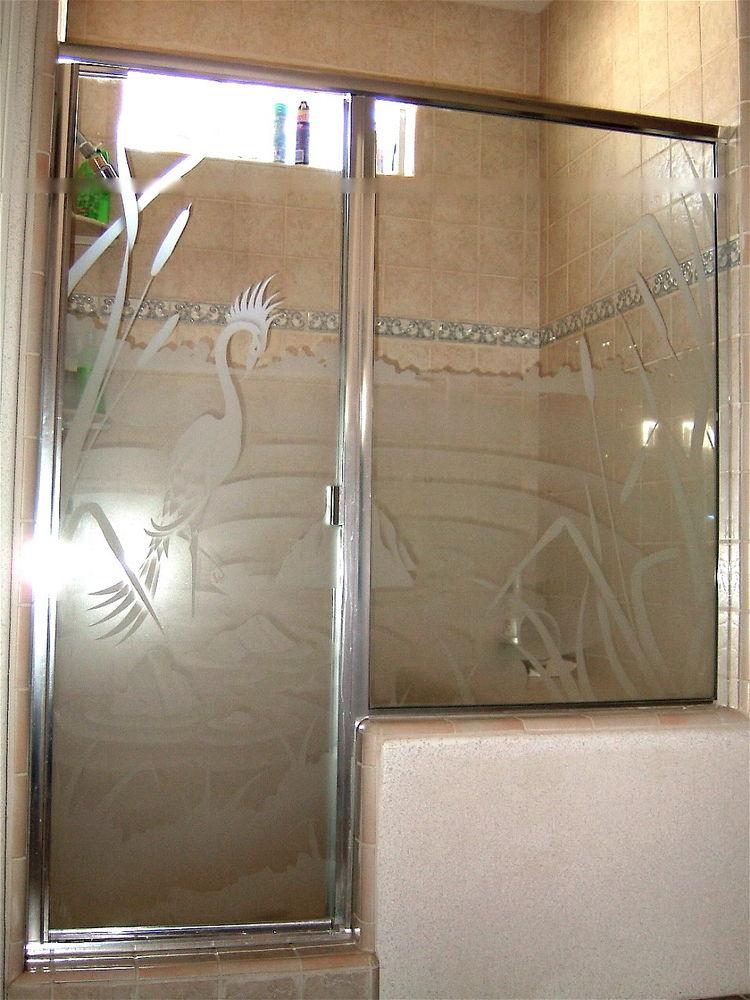 custom showers etched glass Asian decor reeds birds pond wading egret sans soucie