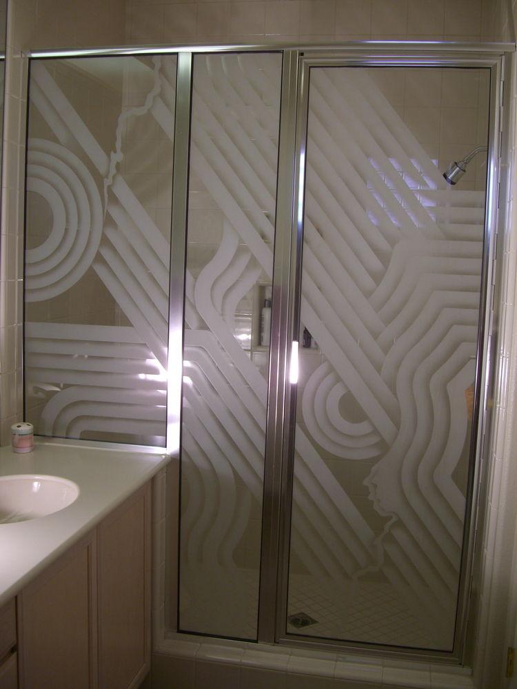 glass shower enclosures etched glass modern decor circles rectangles zigzag sans soucie