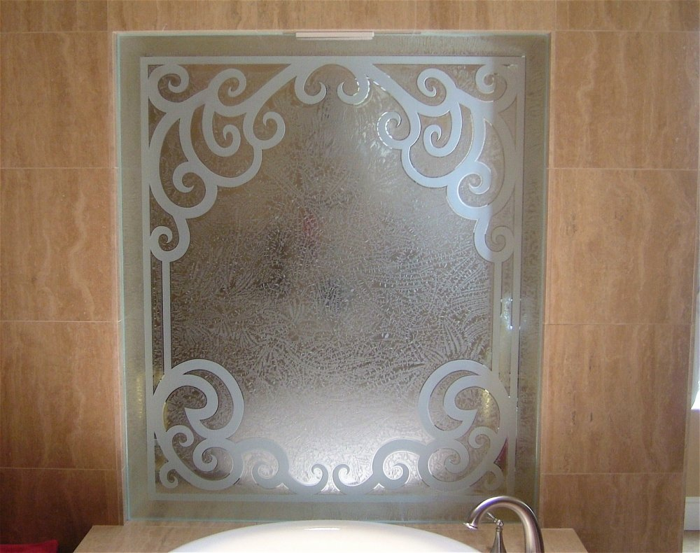 glass shower panels etched glass Tuscan style iron bar arches concorde elegance sans soucie