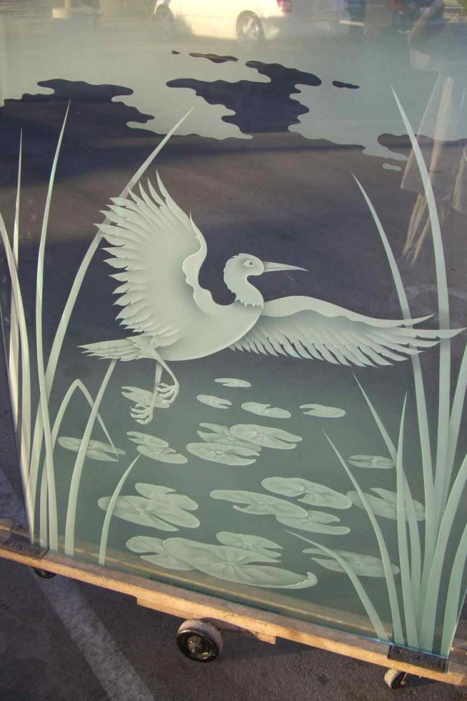 glass shower etched glass Asian style reeds lily pads dancing egret sans soucie