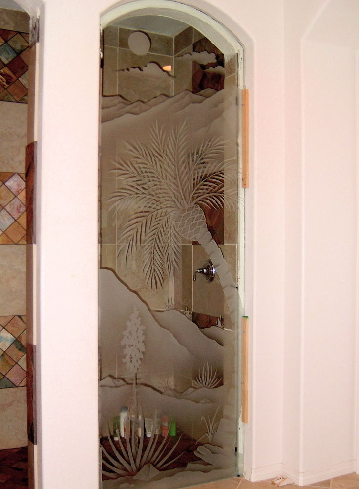 glass shower panels etched glass western decor palm trees hills desert serenity sans soucie