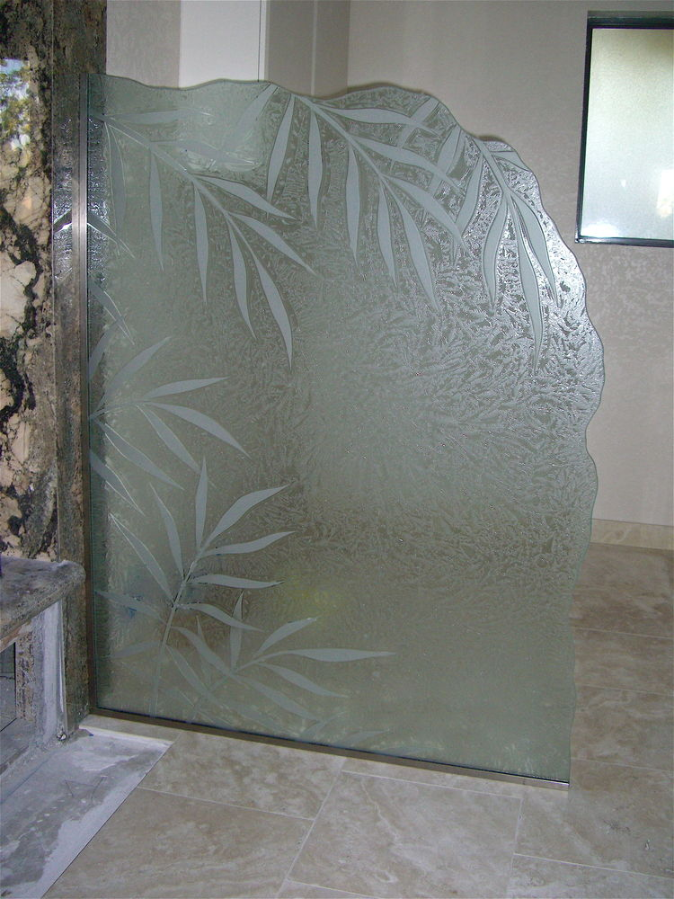 Ferns II Glass Shower Panels Etched Glass Tropical Design