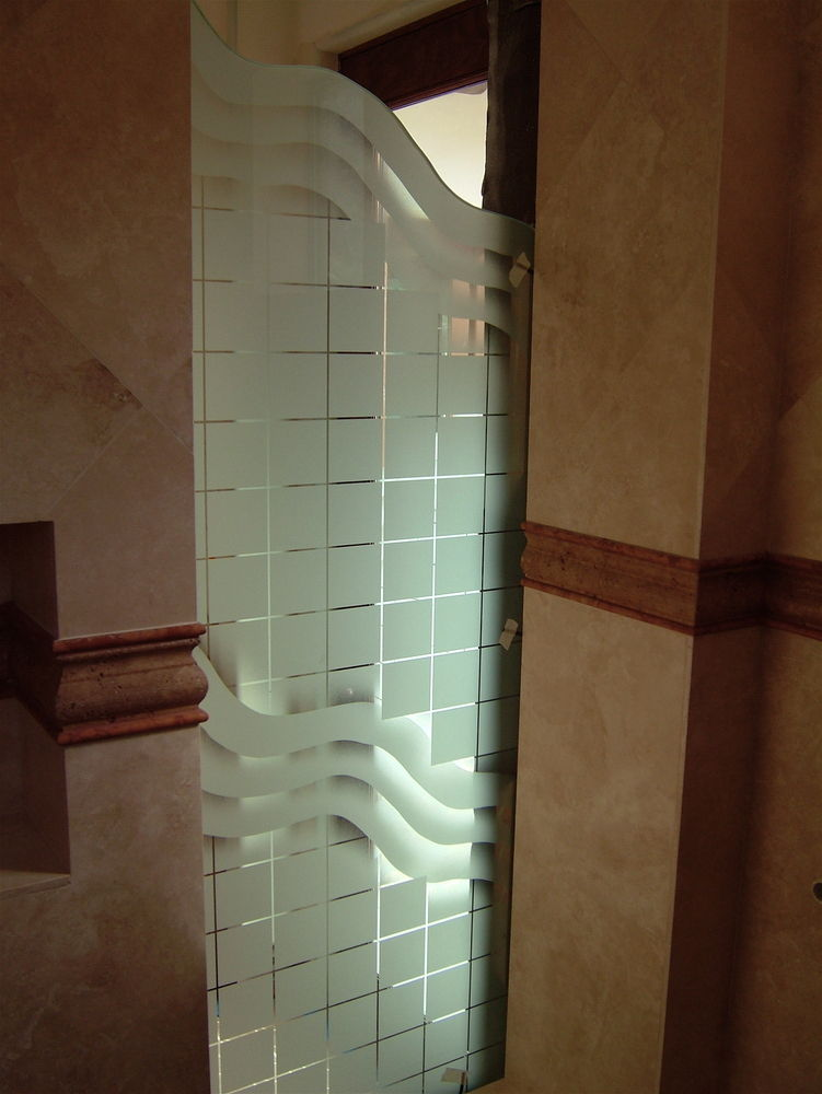 glass shower panels etched glass art deco style cubes pattern grid with waves sans soucie