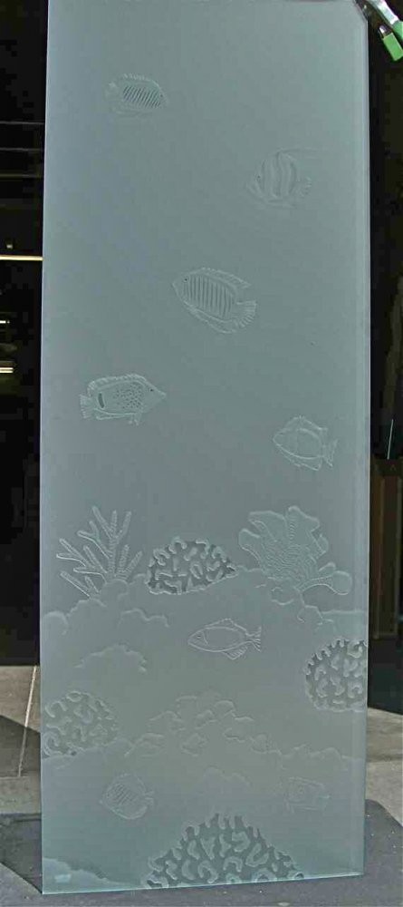 glass shower panels etched glass beach style fish coral ocean aquarium sans soucie