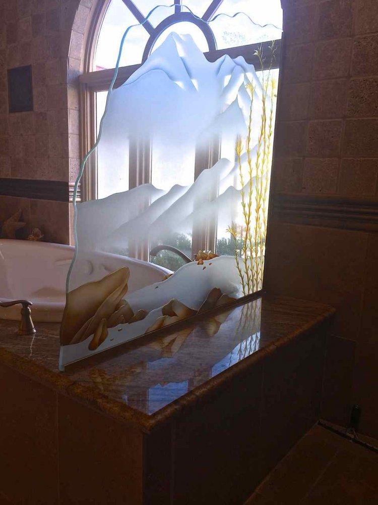 glass shower panels etched glass western decor hills landscape ocotillo sans soucie