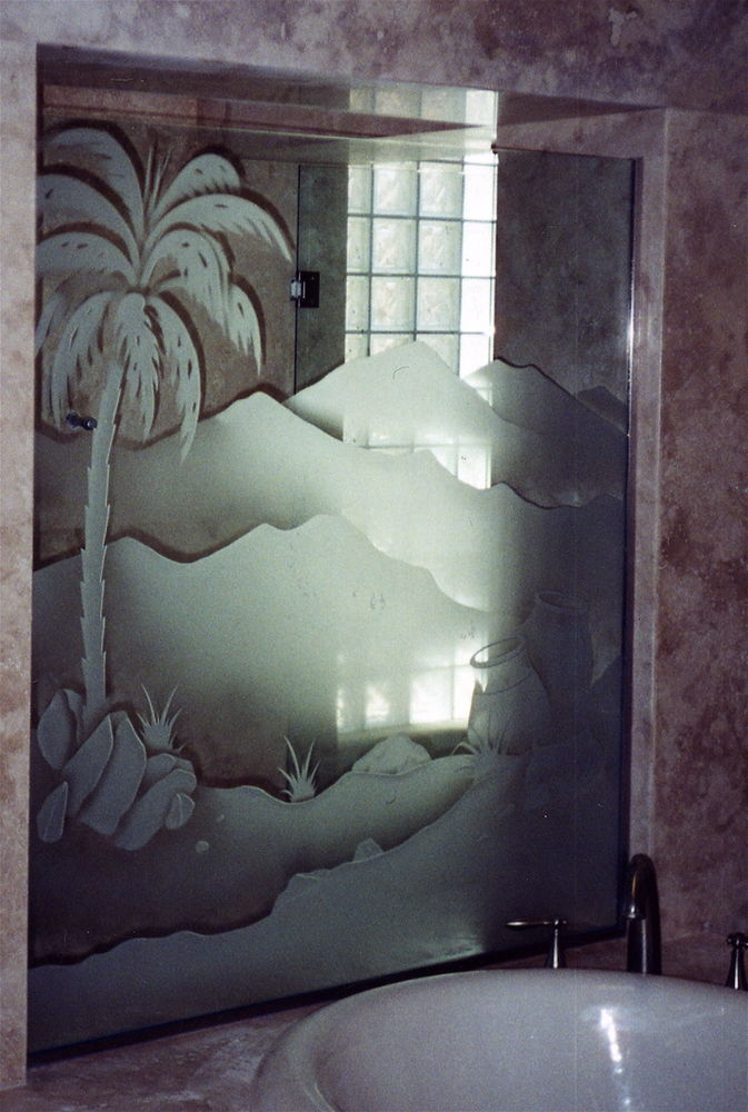 glass shower panels etched glass western design hills landscape palm desert sans soucie