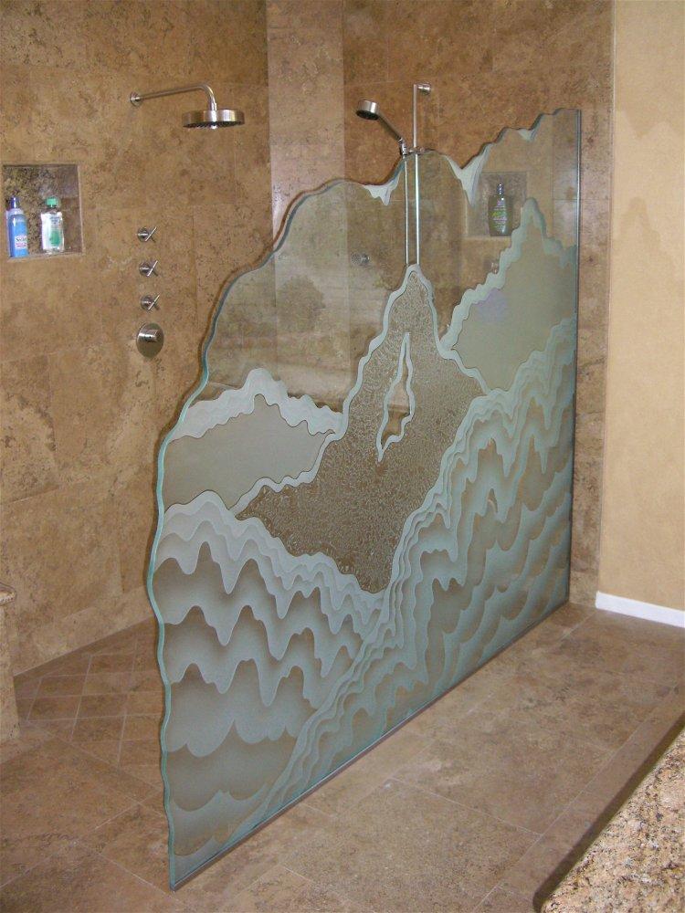 Gl Shower Panels Etched Rustic Design Mountain Landscape Rugged Retreat Sans Soucie