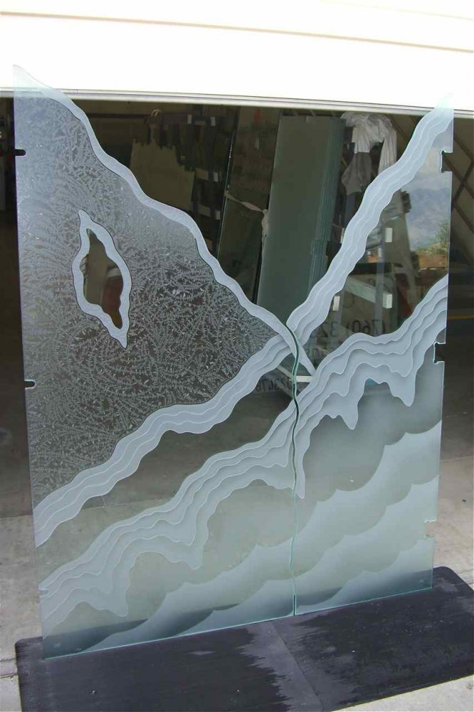 glass shower enclosures etched glass rustic style mountains hills rugged retreat ll sans soucie