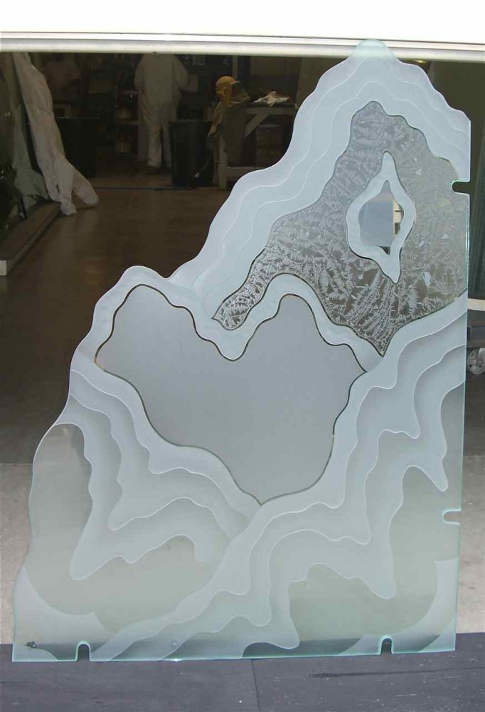 glass shower panels etched glass rustic decor mountain landscape rugged retreat lll sans soucie