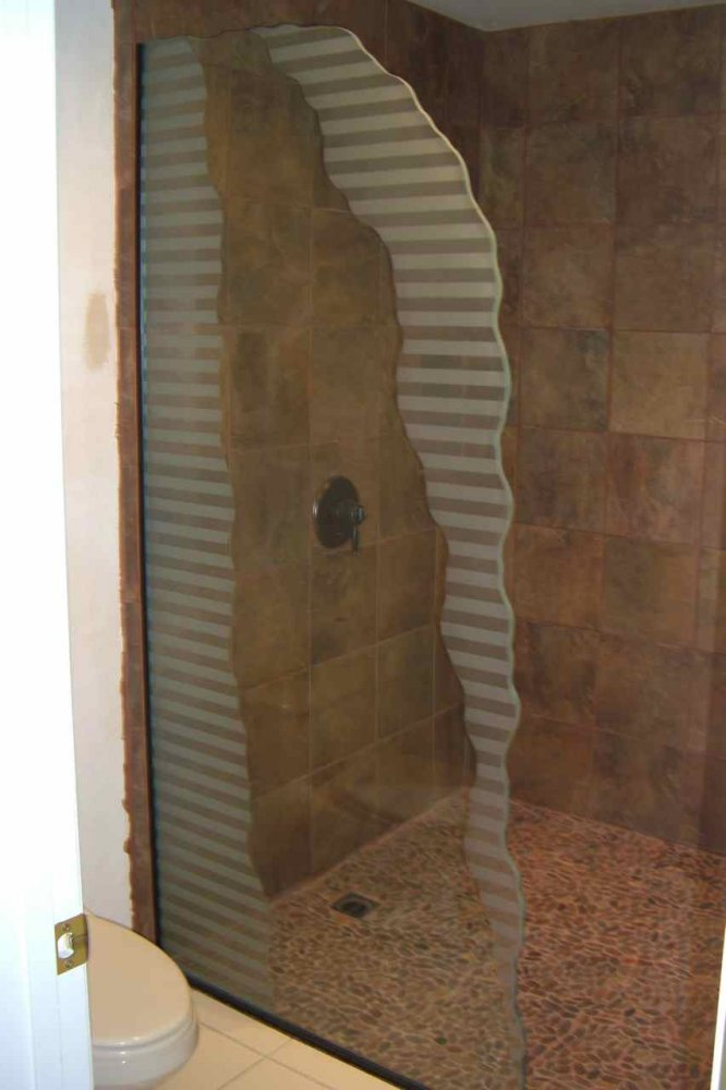 Sleek Bands Custom Showers Etched Glass Modern Design
