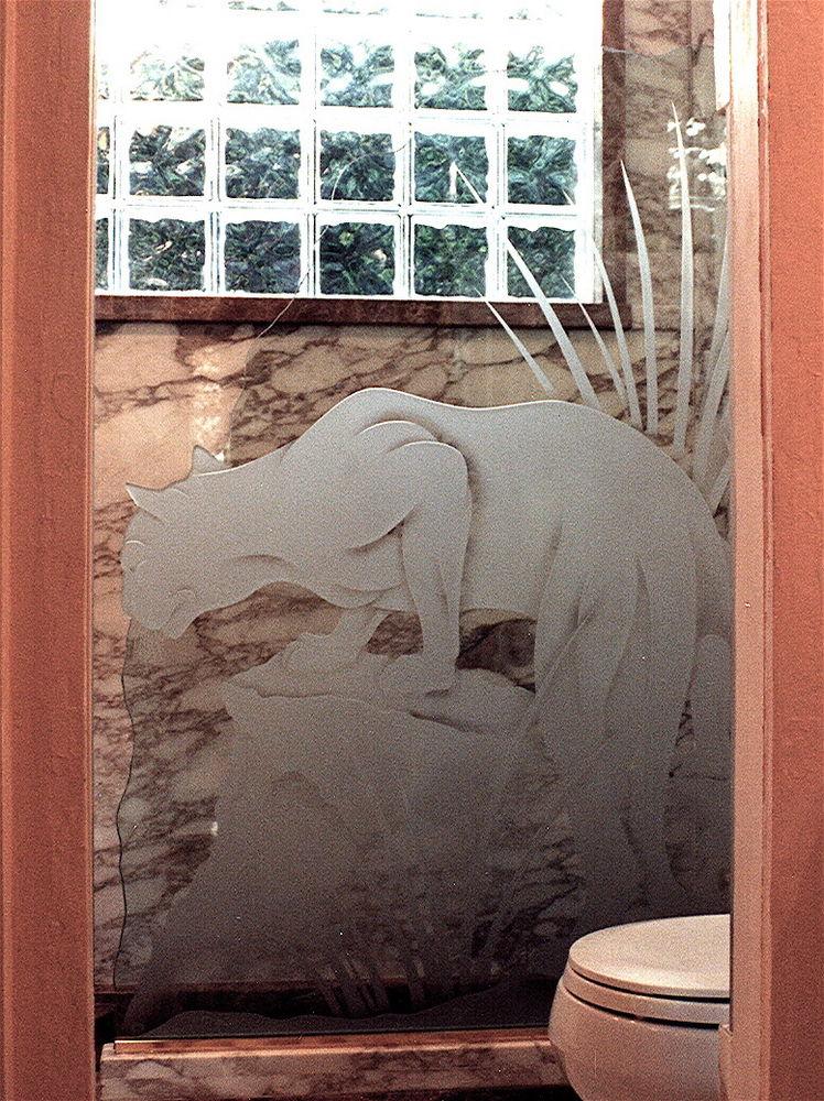 glass shower etched glass African decor big cat foliage the hunt sans soucie