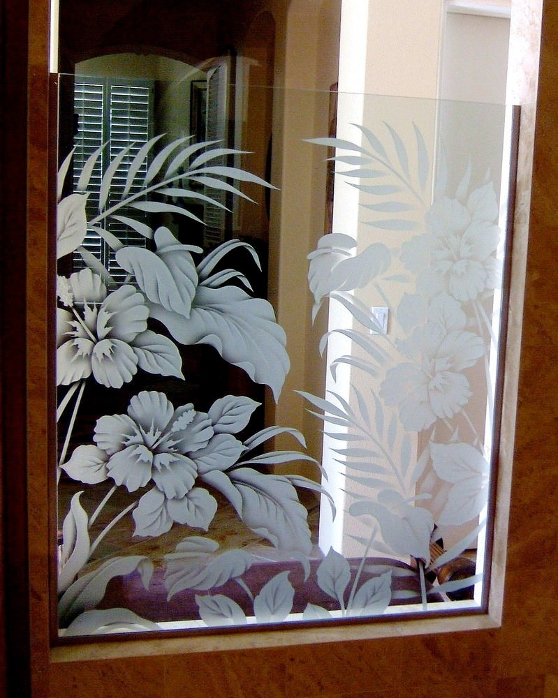 Hbscs bty gls shower panels etched glass tropical design for Window pane designs