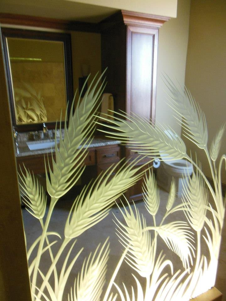 glass shower panels etched glass country design plants outdoors wheat sans soucie
