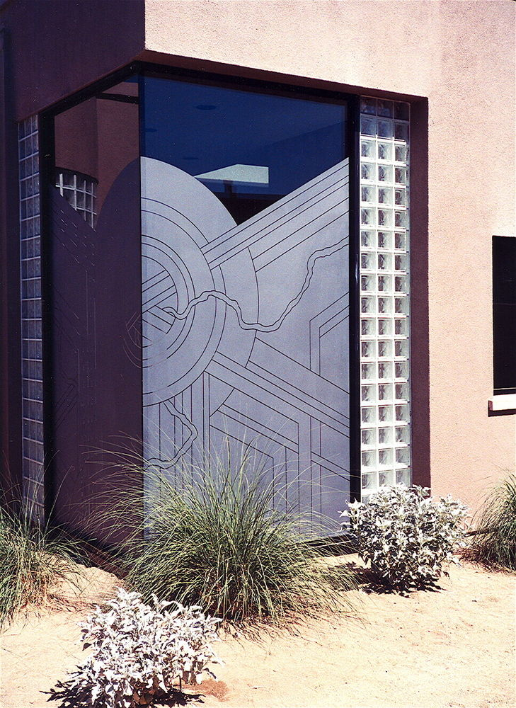 glass window etched glass art deco style linear patterns sun odyssey shower sans soucie