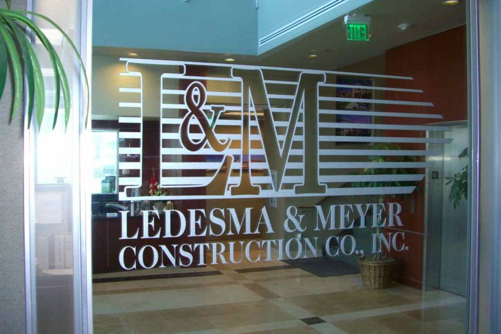 Glass Signs Carved and Painted Ledesma and Meyer Construction by Sans Soucie