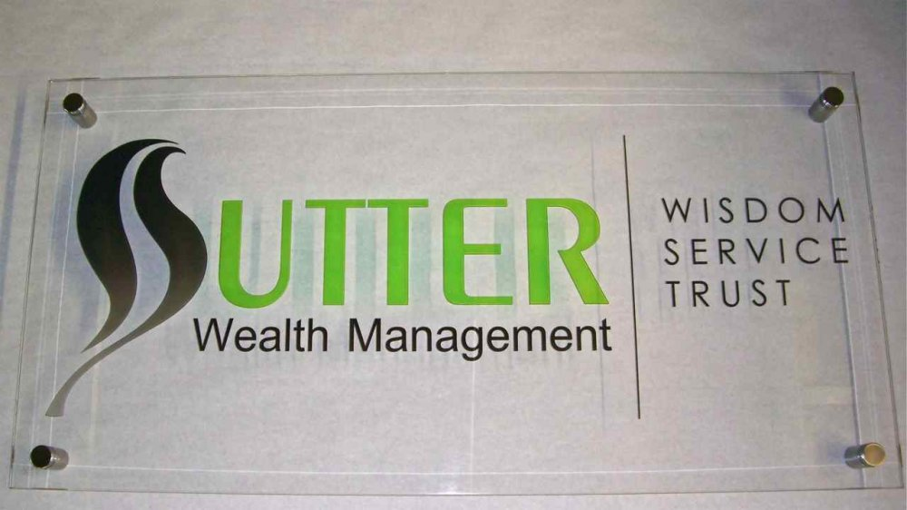 Glass Sign Carved and Painted Sutter by Sans Soucie