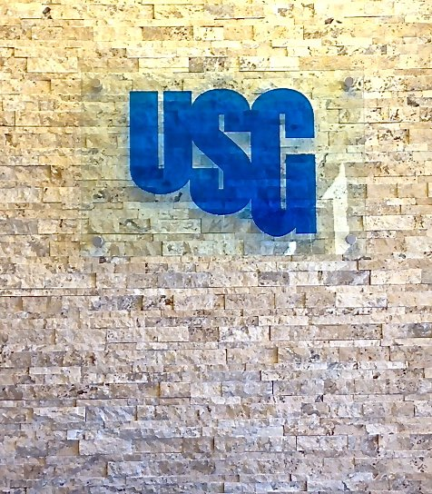 Glass Sign Carved and Painted USG by Sans Soucie