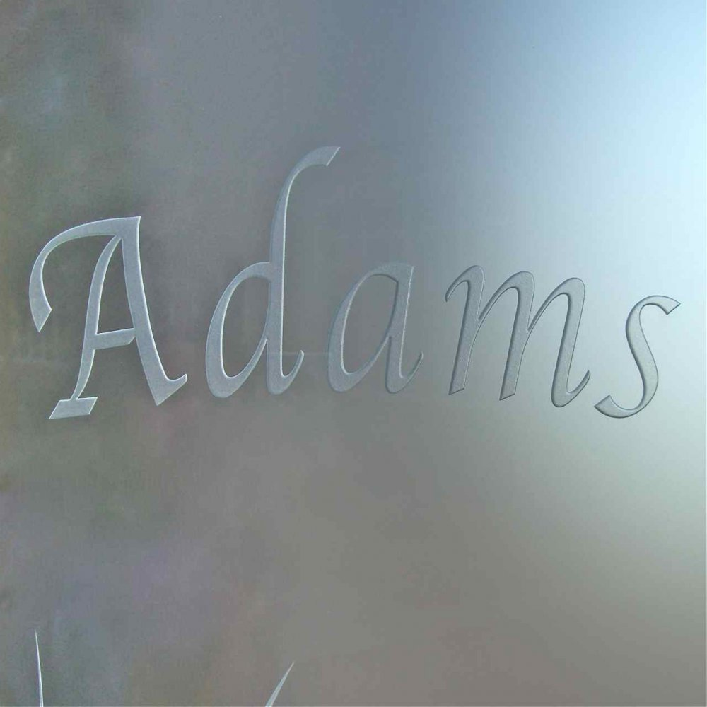 Glass Signs Carved on Frosted Background Sans Soucie