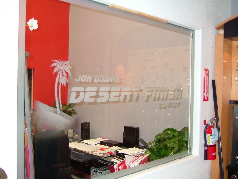 Interior Window with Glass Etching Logos by Sans Soucie