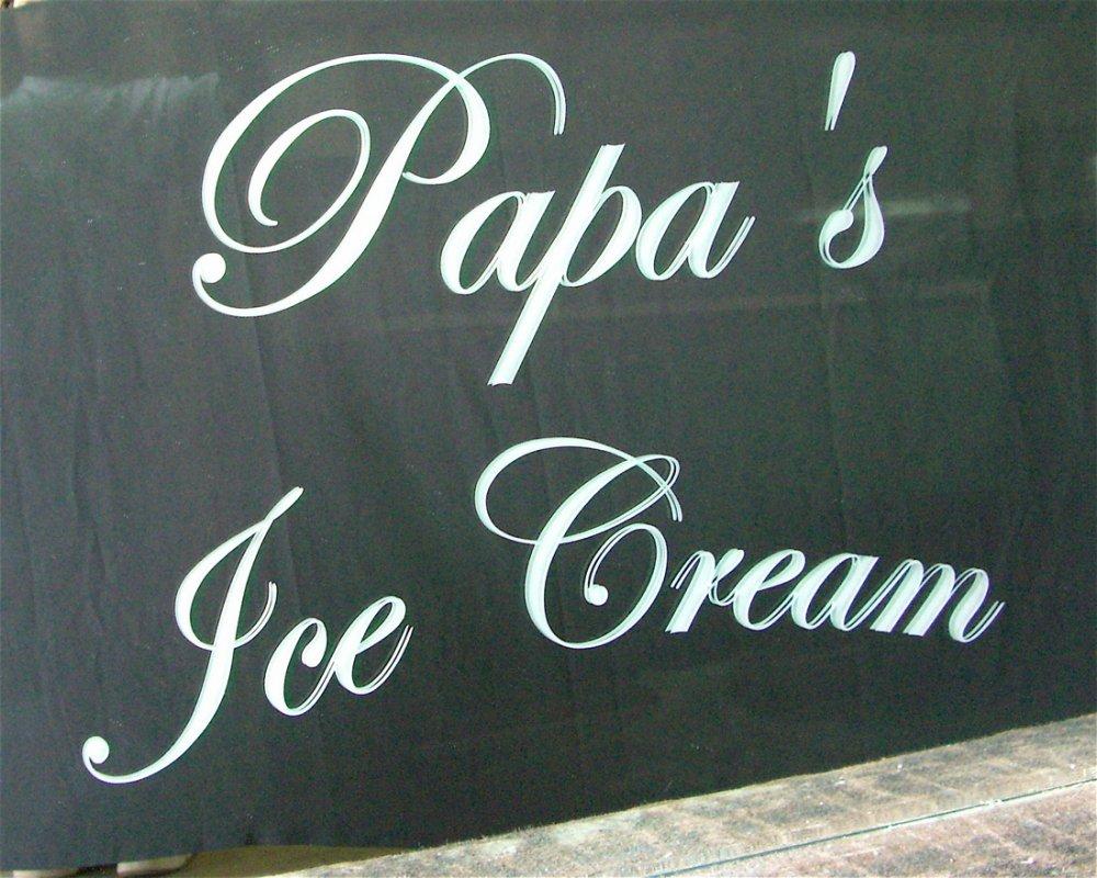 Glass Signs Papa's Ice Cream Sans Soucie