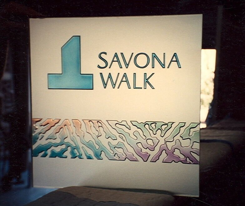 Glass Signs Craved and Etched Savona Walk by Sans Soucie
