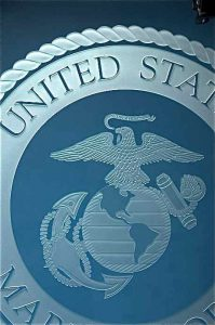 Glass Signs with Etching U.S. Marine Corps Seal Sans Soucie