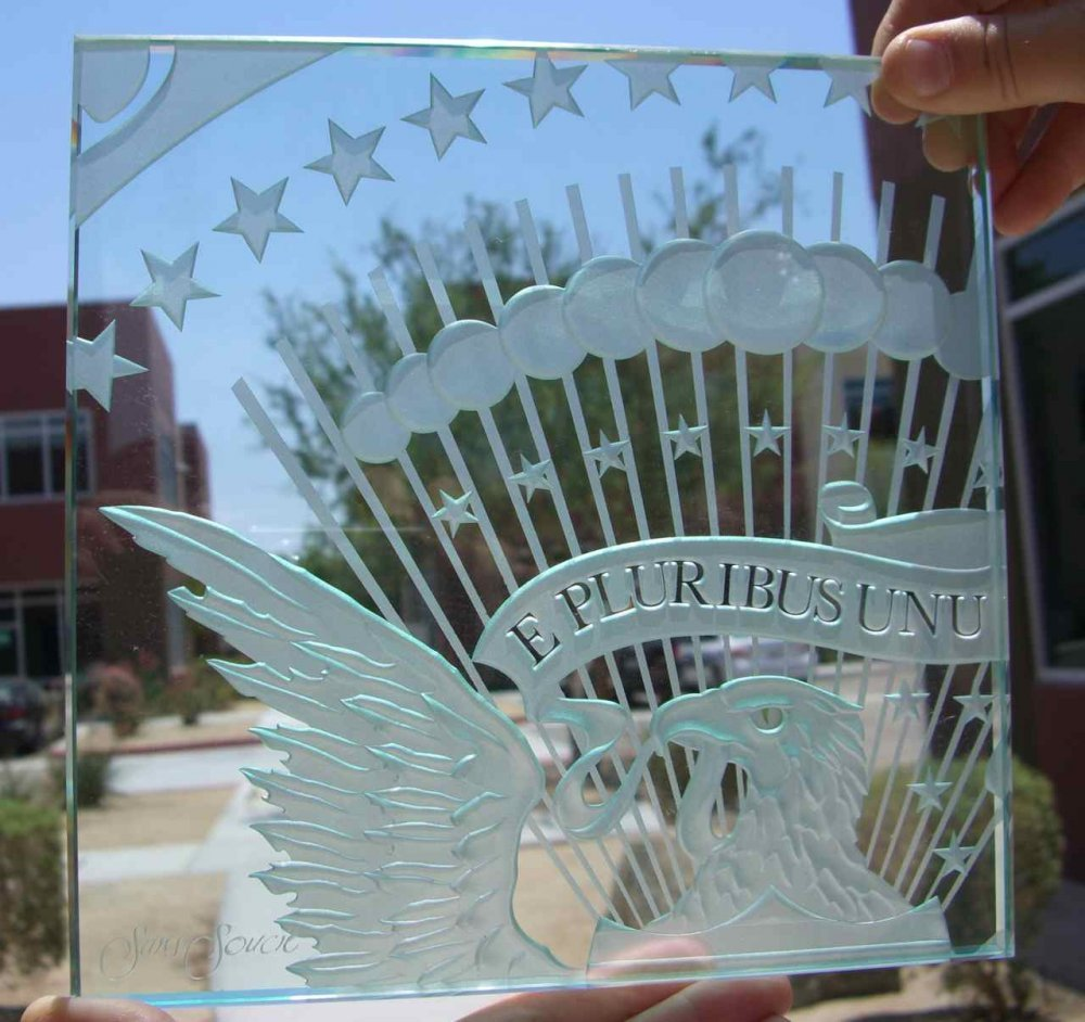 Sans Soucie Sample Signs with Carved Glass U.S. Presidential Seal