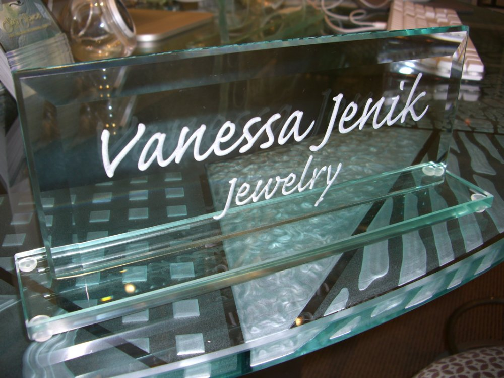 Signs with Glass Etching Logo by Sans Soucie