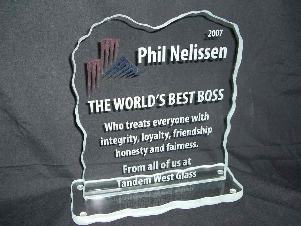 Glass Signs World's Best Boss Sans Soucie