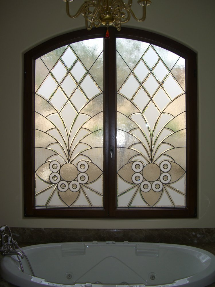 glass window stained glass Moroccan design geometric patterns arabesque bevels ll sans soucie