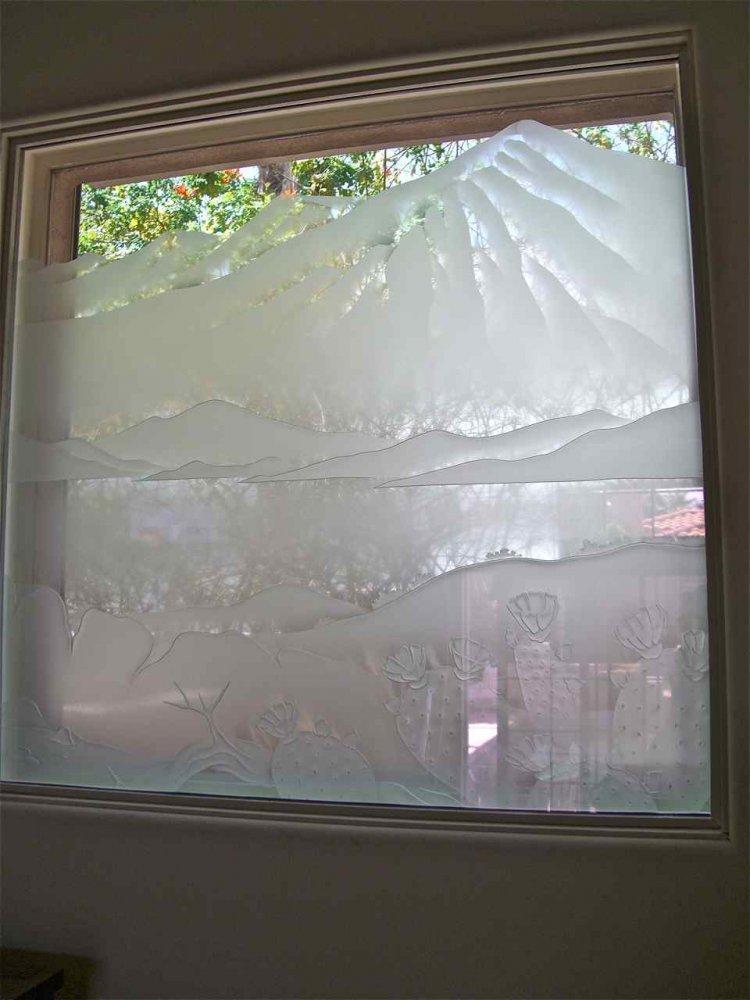 glass window etched glass western decor landscape mountains desert pear cactus sans soucie